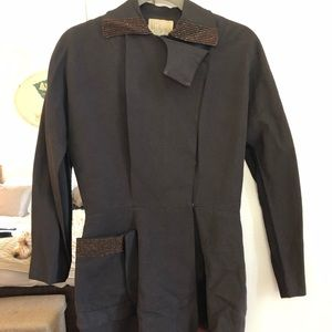 Vintage brown jacket w sequin collar & pocket M